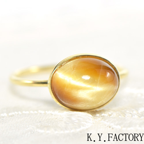 タイガーアイ キャッツ リング K18イエローゴールド ホワイトゴールド YK-AP068YKAM(YR-036) 指輪 華奢 シンプル K18YG レディース ギフト ゴールド 一粒 シンプル