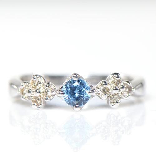 サンタマリアアクアマリン×ダイヤモンド リング K18ホワイトゴールド YK-BF002CI指輪 華奢 フラワー K18WG YK-AF099-1712