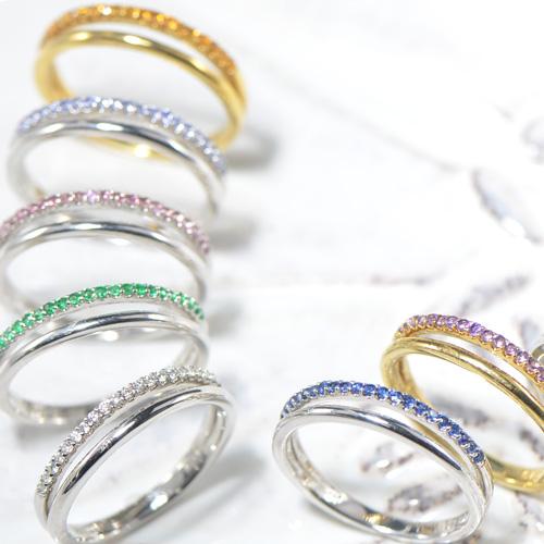 誕生石 ハーフエタニティー リングK18イエローゴールド/ホワイトゴールド/ピンクゴールド   (YR-075) 指輪 レディース ギフト ゴールド ピンキー 2連 重ね着け YK-AH055-1802