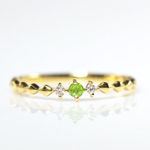 デマントイドガーネット ダイヤモンド K18イエローゴールド リング 10号(YR-039)送料無料 18金 18k 指輪 ゴールド 誕生石 希少石 レアストーン 華奢 レディース カロ YK-AM051-1806YKAM(YR-039)