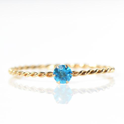 ネオンブルーアパタイト K10イエローゴールド  リング S 指輪 華奢 シンプル K10YG ツイストYK-AM061YKAM