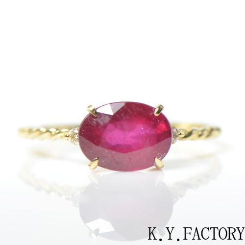 ルビー ダイヤ リング K18イエローゴールド  ピンクゴールドルフレ YK-BF052 YK-AR005CI(YR-062)指輪   一粒 シンプル レディース ギフト K18YG 7月誕生石