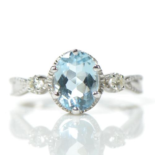 アクアマリン×ダイヤモンド リング K18ホワイトゴールド 指輪 3月誕生石 レディース ギフト ゴールド ベレーザ YK-AN088YKAM(YR-032 11397)