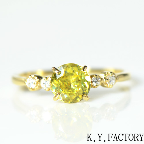 スフェーン×ダイヤモンド リング K18イエローゴールYK-AO011YKAM(YRG-059)ティナ K18YG レディース ゴールド ギフト プレゼント