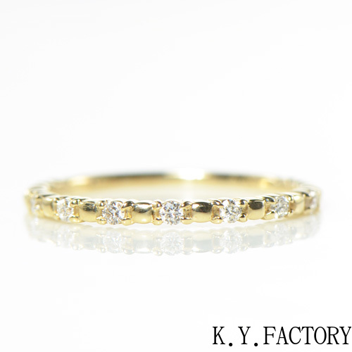 ダイヤモンド リング ハーフエタニティーK18 K10イエローゴールド ホワイトゴールド ピンクゴールド  YK-AQ092YKAM (YR-004) 指輪 華奢 シンプル K10 K18 上質ダイヤ 重ねづけ