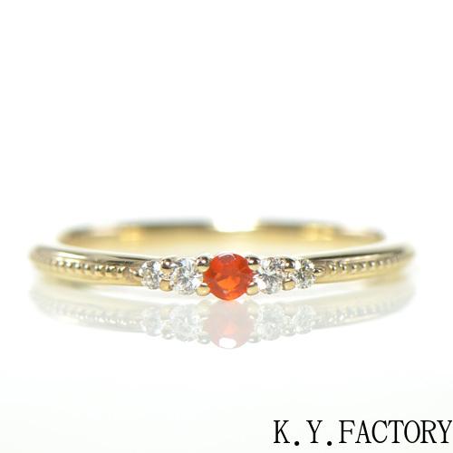 ファイアーオパール リング K10イエローゴールド YK-AR0641018YKAMC(YR-027) 指輪 華奢 ピンキー レディース ギフト ゴールド 希少石 ファイヤーオパール
