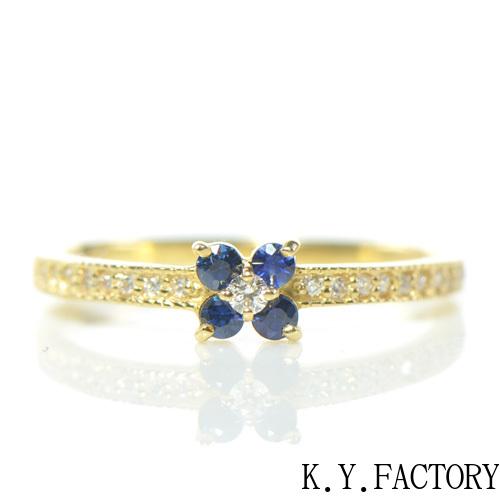 ブルーサファイア×ダイヤモンド リング K18イエローゴールド  フルール YK-AT023YKAMC(YR-078) K18 YG 指輪 ゴールド 希少石 レアストーン 華奢 レディース