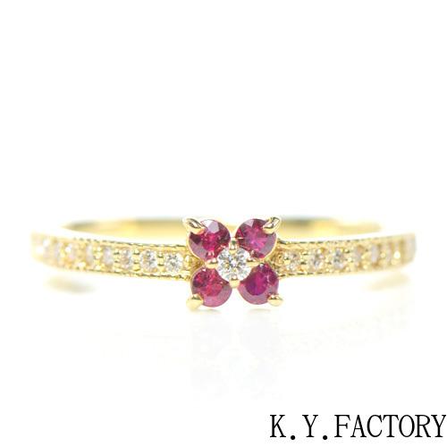 ルビー×ダイヤモンド リング K18イエローゴールド フルール YK-AT027CI (YR-078) K18 YG 指輪 ゴールド 希少石 レアストーン 華奢 レディース
