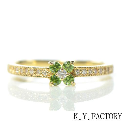 デマントイドガーネット×ダイヤモンド K18イエローゴールド リング フルール YK-AT025YKAMC(YR-078)K18 YG 指輪 ゴールド 希少石 レアストーン 華奢 レディース