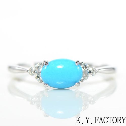 スリーピング ビューティー ターコイズ×ダイヤモンド K18ホワイトゴールド リングノエル YK-BK016 YK-AT005(YRG-089) K18 WG 指輪 ゴールド 希少石 レアストーン レディース 12月誕生石
