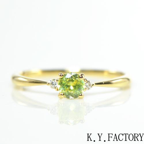 スフェーン ダイヤモンド K18イエローゴールド リング トリア YK-BK022CI28 (YRG-088)指輪 華奢 レア石 レディース ギフト