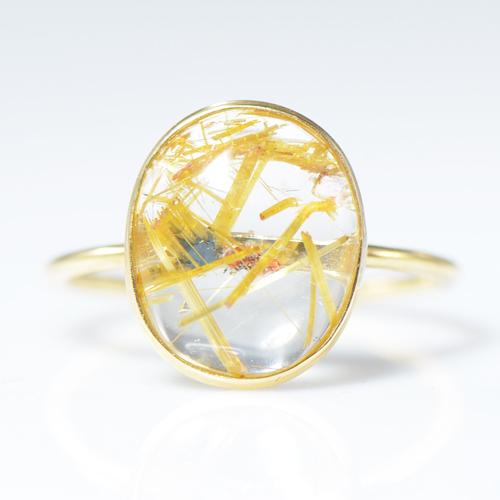ルチル クォーツ リング K18イエローゴールドYK-BM088CI28 (YR-084) 指輪 華奢 シンプル K18YG レア石 レディース ギフト 一粒 シンプル ゴールド