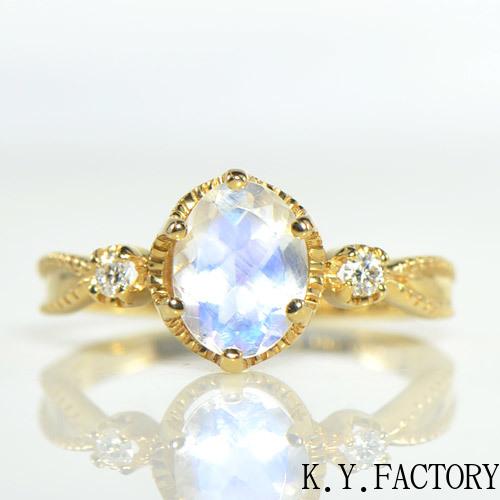 ブルームーンストーン ダイヤモンド リング K18イエローゴールド ベレーザ YK-AU023CI(YR-032 11397)指輪 レディース ギフト K18YG 18金 6月誕生石 ゴールド