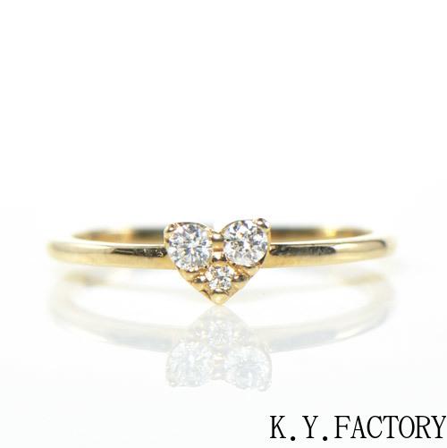 ダイヤモンド リング ピンキーK10イエローゴールド YK-AU043 K10 (YR-022) 4月誕生石 レディース ギフト ゴールド ハート