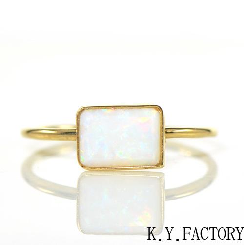 オーストラリア オパール リング K18イエローゴールド1点もの YK-BF035 YK-AU086(YR-084) 指輪 華奢 シンプル K18YG レア石 レディース ギフト 一粒 シンプルゴールド