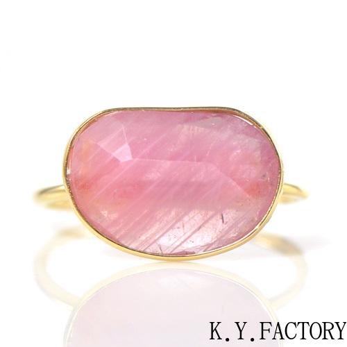 ピンクサファイア リング K18イエローゴールド YK-AU087(YR-084) 指輪 華奢 シンプル K18YG レディース ギフト ゴールド 一粒 シンプル