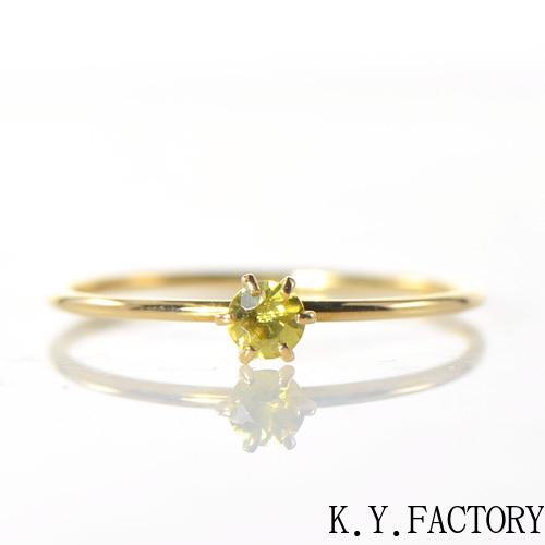 スフェーン リング K18イエローゴールドデイリー YK-AV002CI(R-6ms)K18 YG 一粒 スパーク 虹 レインボー レア石