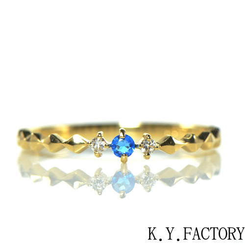 アウイナイト×ダイヤモンド リング K18イエローゴールド カロYK-AV004CI  (YR-039)18金 18k 指輪 ゴールド 誕生石 希少石 レアストーン 華奢 レディース