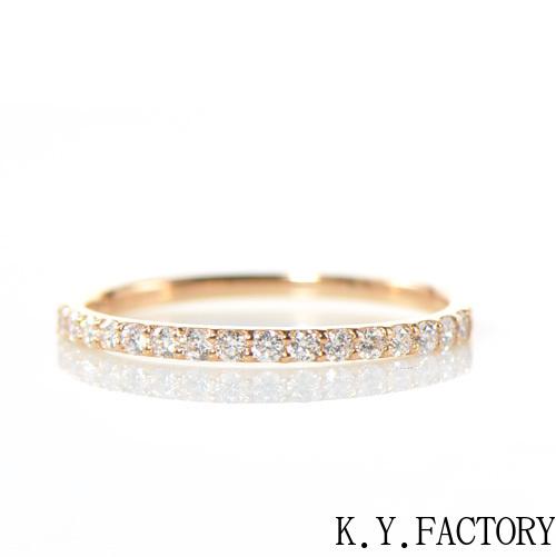 ダイヤモンド リング ハーフエタニティーK18ピンクゴールド YK-AV05418金 レディース ギフト ゴールド 4月誕生石