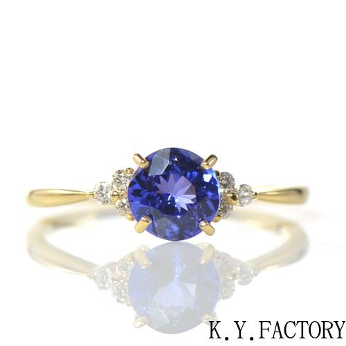 タンザナイト×ダイヤモンド K18イエローゴールド リングノエル YK-AW034(YRG-085) K18 YG 指輪 ゴールド 希少石 レアストーン レディース 12月誕生石
