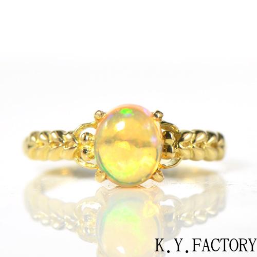 メキシコオパール リング K18イエローゴールドYK-AW049CI28指輪 レディース ギフト プレゼント ゴールド 10月誕生石