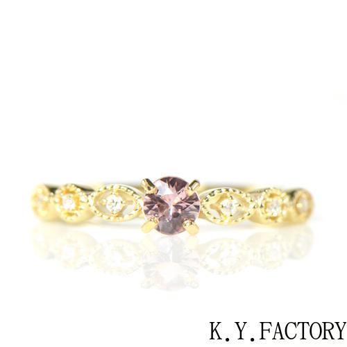 インペリアルトパーズ×ダイヤモンド リング K18イエローゴールドフィーユYK-AX001CI(YRG-029)K18YG レディース ゴールド ギフト プレゼント