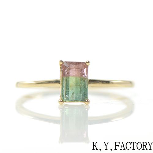 バイカラートルマリン リング K18イエローゴールドYK-AX008 18YG YG レディース ゴールド ギフト プレゼント 指輪 シンプル 10月誕生石
