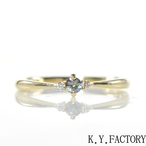 アレキサンドライト ダイヤモンド リング K10 イエローゴールド ホワイトゴールド ピンクゴールドトリアYK-BM017(YR-045) YK-AX024指輪 華奢 レア石 レディース ギフト