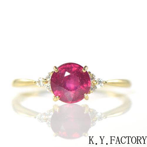 ルビー×ダイヤモンド K18イエローゴールド リングノエル YK-BA088 YK-AX096(YRG-085) K18 YG 指輪 ゴールド 希少石 レアストーン レディース 7月誕生石