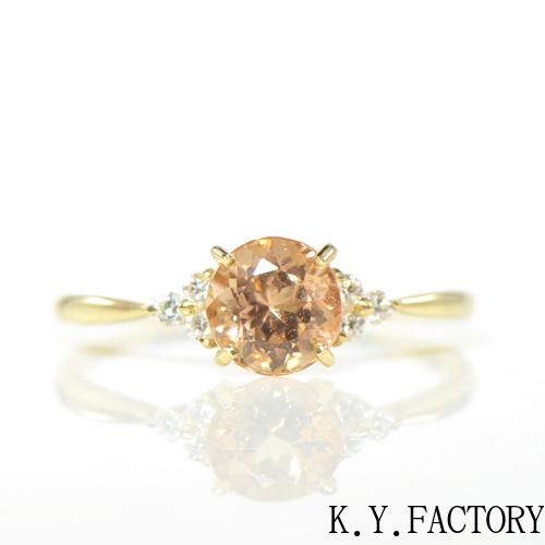 インペリアルトパーズ ×ダイヤモンド K18イエローゴールド リングノエル YK-BA063CI (YRG-085) K18 YG 指輪 ゴールド 希少石 レアストーン レディース 11月誕生石