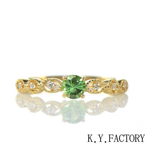 グリーンガーネット×ダイヤモンド リング K18イエローゴールド フィーユ YK-AZ043CI(YRG-029)ツァボライト K18YG 1月誕生石 レディース ゴールド