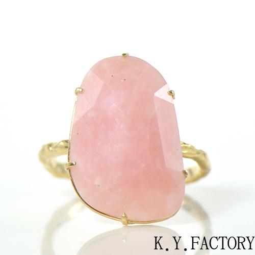 ピンクオパール リング K18イエローゴールドアルブル YK-BB003(HA-3694)指輪 シンプル K18YG レア石 レディース ギフト 一粒 シンプル ゴールド