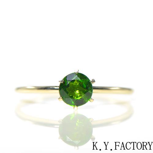 クロムダイオプサイト リング K10イエローゴールドブリアン デイリー YK-BJ025CI28 (YR-031)指輪 一粒 シンプル レディース ギフト K10 YG レア石