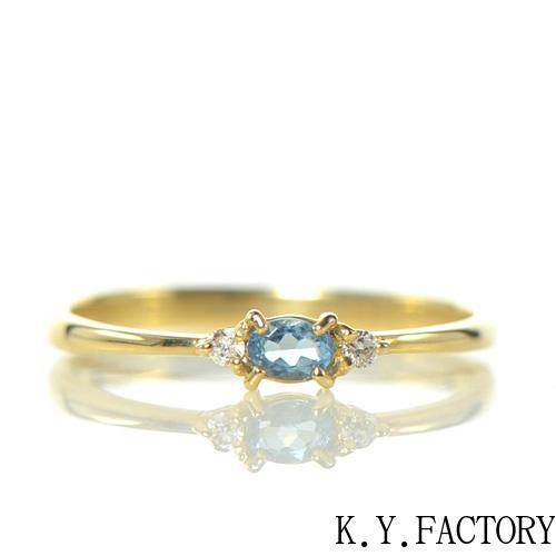 サンタマリア アクアマリン ダイヤモンド リング K18イエローゴールド  トリア YK-BE081 (YR-070)指輪 華奢 レア石 レディース ギフト 3月誕生石