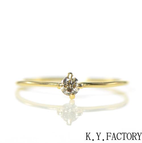 ブラウンダイヤ リング K18イエローゴールドYK-BE052(HA-3591) 指輪 華奢 シンプル K18 YG レディース ゴールド 一粒 シンプル ギフト プレゼント