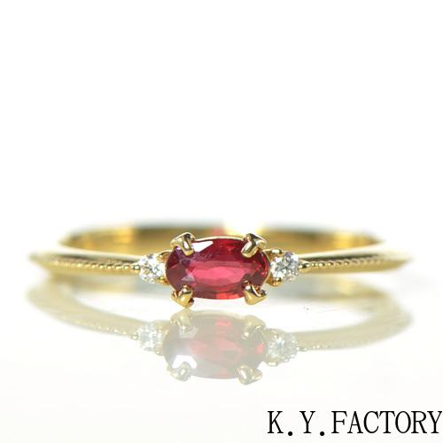 レディッシュカラー サファイア ダイヤモンド リング K18イエローゴールド 指輪 レディース ギフト ゴールド ソフィア YK-AU062 (YR-076)
