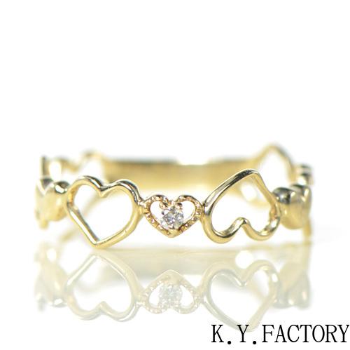 ハート ダイヤ リング K10イエローゴールドYK-BF089 K10 YG 指輪  レディース ギフト ゴールド 一粒 シンプル