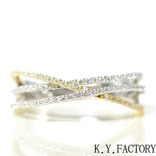 ダイヤモンド プラチナ900 K18イエローゴールド  リングYK-BG002(J4636AB)指輪 レディース ゴールド ギフト プレゼント