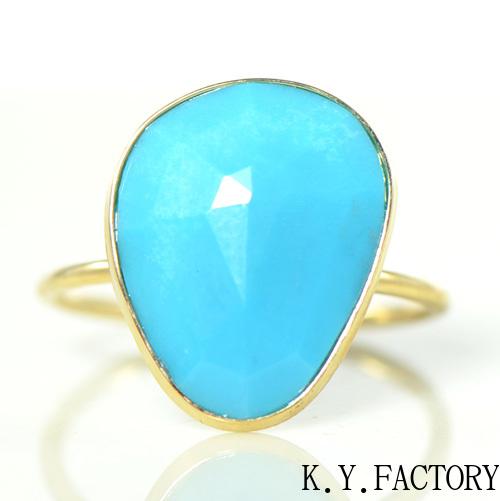ターコイズ リング K18イエローゴールド 1点もの YK-BG072CI28(YR-103) 指輪 K18YG レディース ギフト ゴールド 一粒 シンプル
