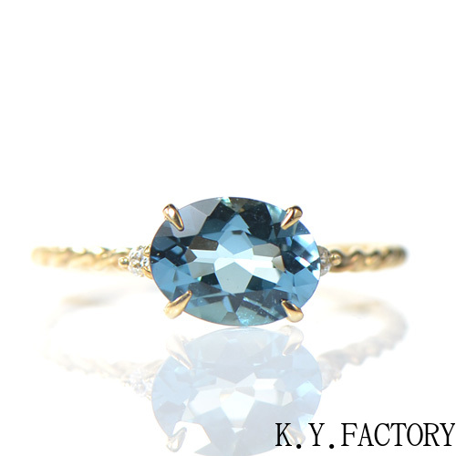 ロンドンブルートパーズ リング  K10イエローゴールド ルフレ YK-BI031(YR-062) 指輪 レディース ギフト K10 ゴールド 11月誕生石