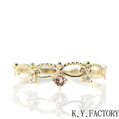 インペリアルトパーズ シャンパンゴールドカラー ダイヤ リング K10イエローゴールド YK-BJ052CI (YR-056) ティアラ 指輪 華奢 レディース ギフト ゴールド 希少石 11月誕生石 ピンキー