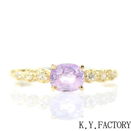 非加熱サファイア×ダイヤモンド リング K18イエローゴールド ソルシエールYK-BK009CI(YRG-051)  K18YG 18金 9月誕生石 レディース ゴールド