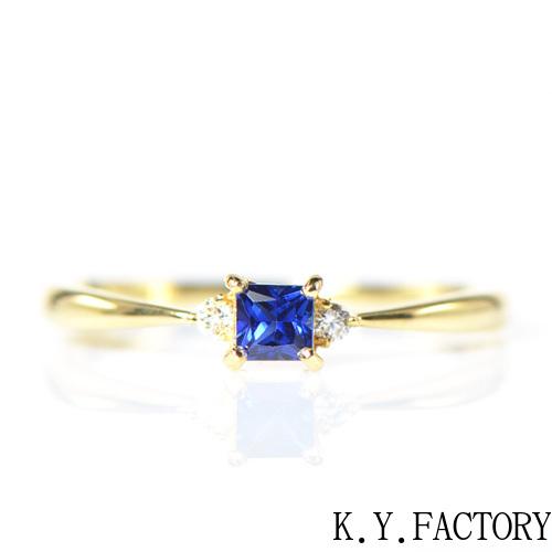 ブルーサファイア×ダイヤモンド リング K18イエローゴールド トリア YK-BL006CI(YRG-040) K18 18金 指輪YG レディース ゴールド ギフト プレゼント 9月誕生石