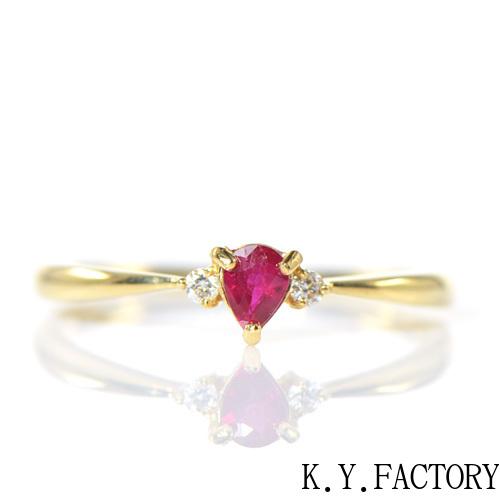 ルビー×ダイヤモンド リング K18イエローゴールドトリア YK-BL013CI(YRG-042)K18 YG 18金 指輪 レディース ゴールド ギフト プレゼント 7月誕生石