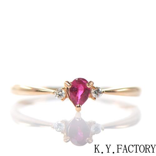 ルビー×ダイヤモンド リング K18ピンクゴールドトリア YK-BL014CI(YRG-042) K18 PG 18金 指輪 レディース ゴールド ギフト プレゼント 7月誕生石
