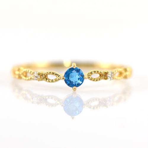 アウイナイト リング K18イエローゴールド フォリア YK-BM037CI28(YR-057)指輪 華奢 ピンキー レディース ギフト ゴールド 希少石