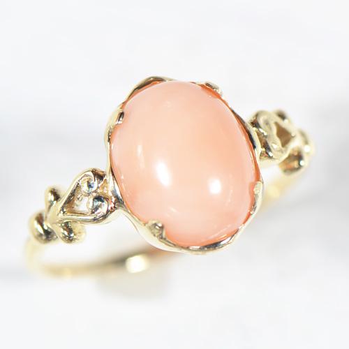 ピンク珊瑚 リング  K10イエローゴールド ピンクゴールド  ココ YK-BD051 YK-AB046-1708C(YR-055) 指輪 一粒 シンプル K10 10金 コーラル サンゴ