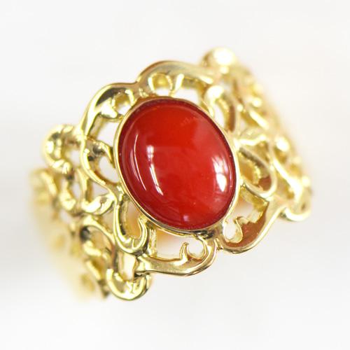 血赤珊瑚 リングK18イエローゴールド 11号 YK-N057-1608指輪 サンゴ さんご コーラル K18YG レディース ギフト ゴールド
