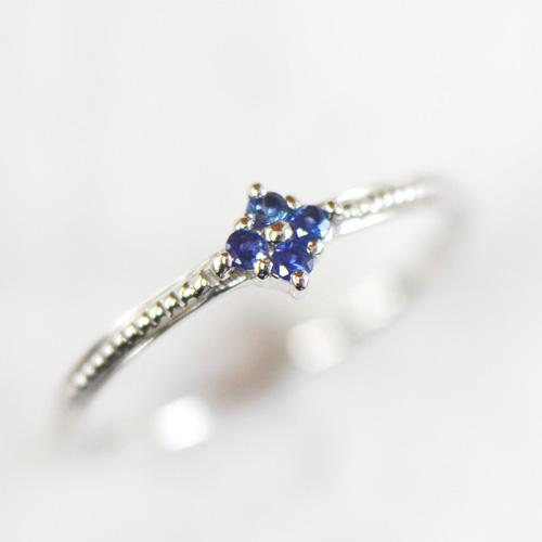 ブルー サファイア リング K18イエローゴールド ホワイトゴールド ピンクゴールド YK-AR047C(YR-059)指輪 華奢 フラワー K18YG PG WG 18金 9月誕生石 レディース ギフト  カラーサファイアヴィオレット