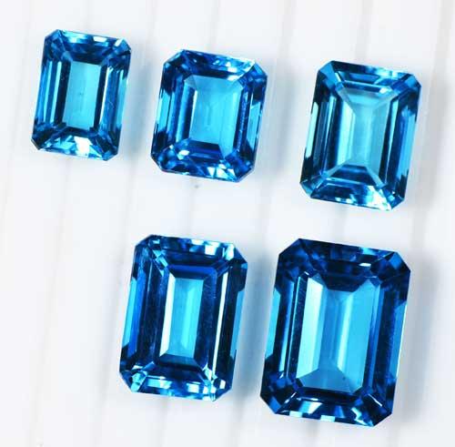 ブルー トパーズ 長角(エメラルド)カット  5種類の大きさ 【送料無料】S-E096-1605